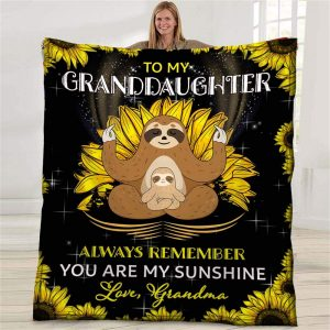 Personalized To My Granddaughter Throw Blanket Custom Name Fleece Blanket Funny Cool