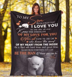 Personalized To My Son Throw Blanket Fleece Blanket Funny Cute